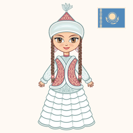 kazakh: The girl in Kazakh dress. Historical clothes. Kazakhstan
