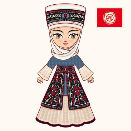 kirgizia: The girl in Kyrgyz dress. Historical clothes. Kyrgyzstan