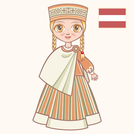 latvia girls: The girl in Latvian dress. Historical clothes. Latvia