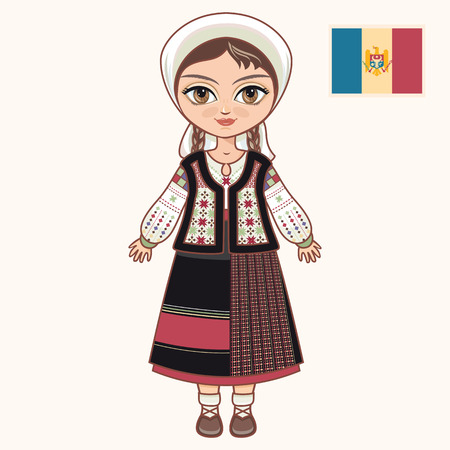The girl in Moldavian dress. Historical clothes. Moldova