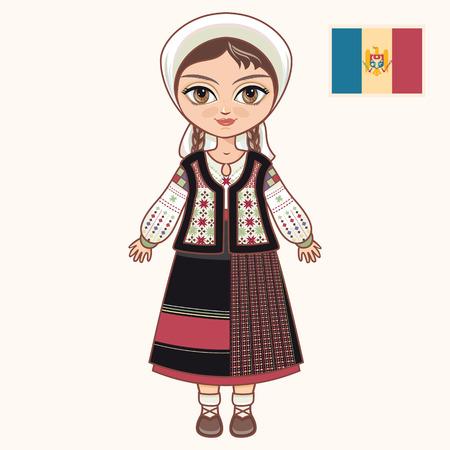 La chica en traje de Moldavia. ropa histórica. Moldavia Ilustración de vector