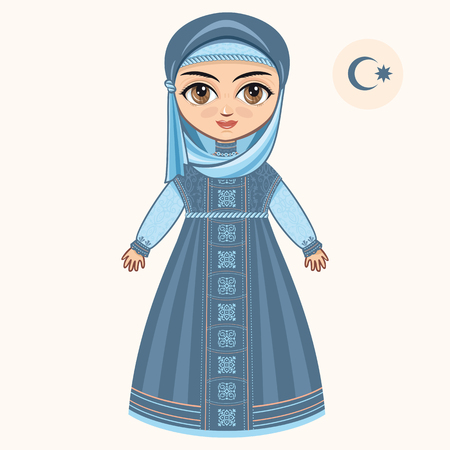 The girl in muslim dress. Historical clothes. 版權商用圖片 - 54720515