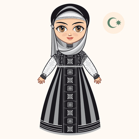 The girl in muslim dress. Historical clothes.