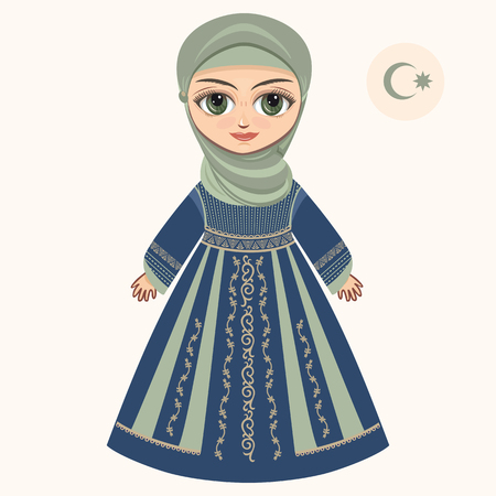 muslim fashion: The girl in muslim dress. Historical clothes.