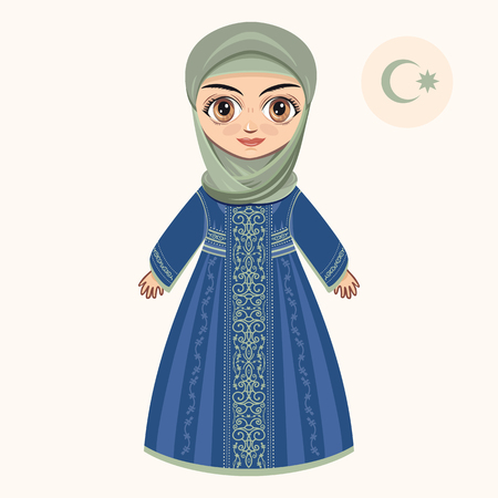 mohammedan: The girl in muslim dress. Historical clothes.