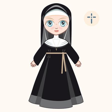 novice: The girl in novice dress. Nun Illustration