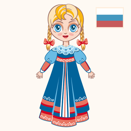 russian  russia: The girl in Russian dress. Historical clothes. Russia