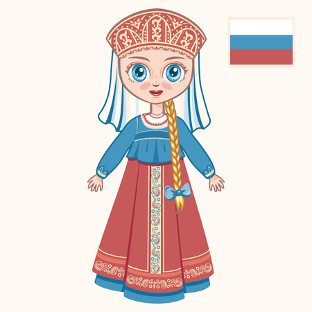The girl in Russian dress. Historical clothes. Russia