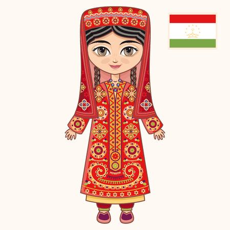 tajikistan: The girl in Tajik dress. Historical clothes. Tajikistan