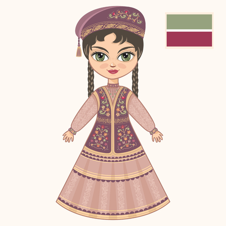 historical: The girl in Tatar dress. Historical clothes. Tatarstan
