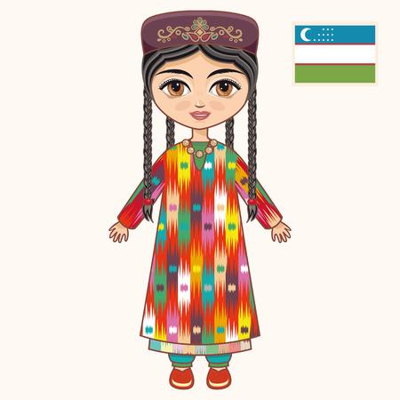 historical: The girl in Uzbek dress. Historical clothes. Uzbekistan