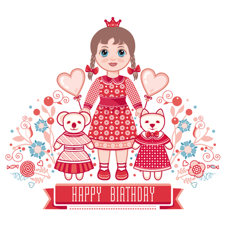 little princess: Happy birthday - greetings card for girl. Illustration of cute little princess.