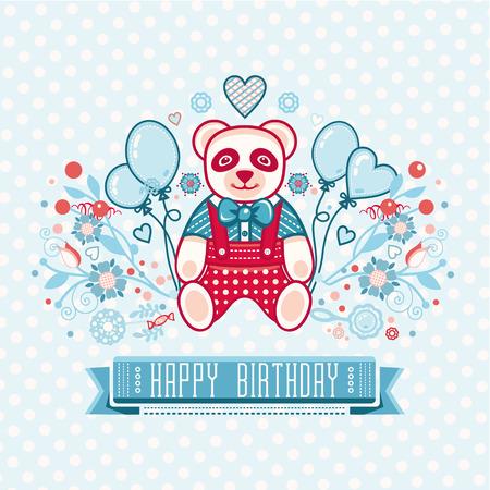 cute panda: Cute panda. Greeting card. Illustration