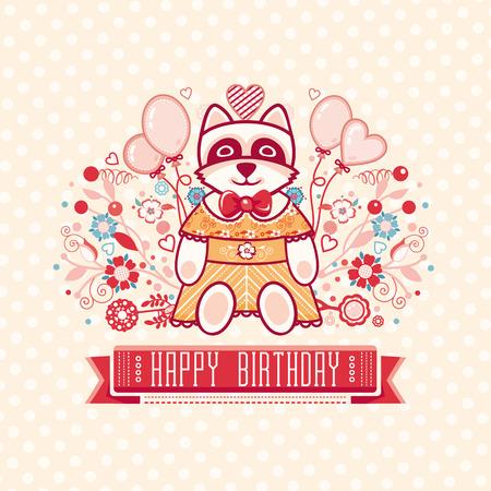 raccoon: Cute Raccoon. Greeting card.