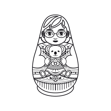 babushka: Matryoshka. Monochrome. Vector illustration on white background.