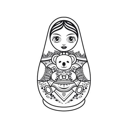 matreshka: Matryoshka. Monochrome. Vector illustration on white background.