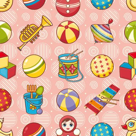 Seamless pattern. Children's toys. Vector illustration.