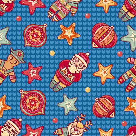 new year s santa claus: Seamless pattern. Christmas style Illustration