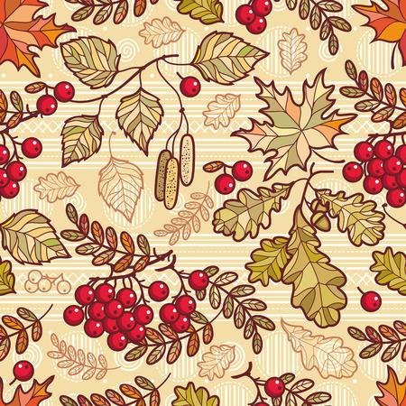 Seamless pattern. Autumn leaf. Rowan. Maple. Birch. Oak.