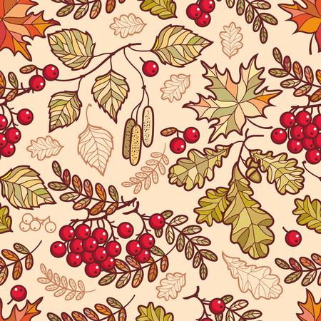 Seamless pattern. Autumn leaf. Rowan. Maple. Birch. Oak. 向量圖像