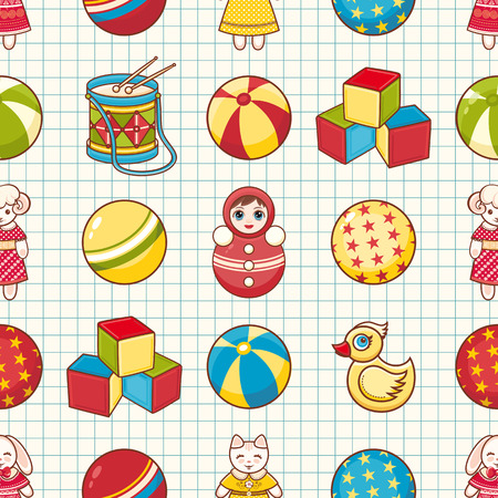 toddler: Toddler toys. Toy. Baby Toy. Seamless pattern. Cell. School notebook.
