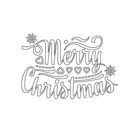 season s greeting: Merry Christmas lettering text. Festive message. Christmas and New Year background. Vector image for greeting card.