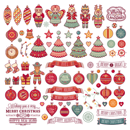 Merry Christmas toys. Greeting card. Christmas and New Year design elements. Balls, Santa Claus, socks, gift box. Christmas tree, Reindeer. Holiday text lettering. Holiday isolated colorful toys set. Winter bundle. Illustration