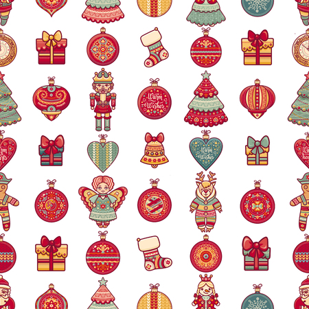 new year s santa claus: Seamless pattern. Merry Christmas toy. Reindeer. Santa Claus. Gingerbread Man. Deer. Gift box. Ball. Christmas tree. Christmas hand drawn design elements. Best for greeting cards, invitations, wrapping paper.