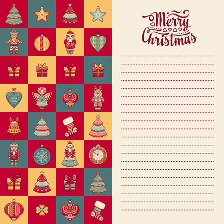 new year s santa claus: Merry Christmas toys. Greeting card. Christmas and New Year design elements. Balls, Santa Claus, socks, gift box. Christmas tree, Reindeer. Holiday text lettering.