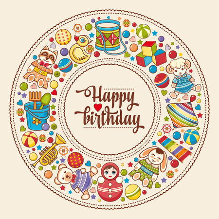 Childrens colorful round frame. Baby background. Happy birthday greeting card. Digital vector image for invitations, wrapping. Ilustração