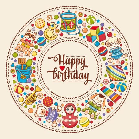 Kleurrijke ronde frame Children's. Achtergrond baby. Gefeliciteerd met je verjaardag wenskaart. beeld Digitale vector voor uitnodigingen, het verpakken. Stockfoto - 58625205