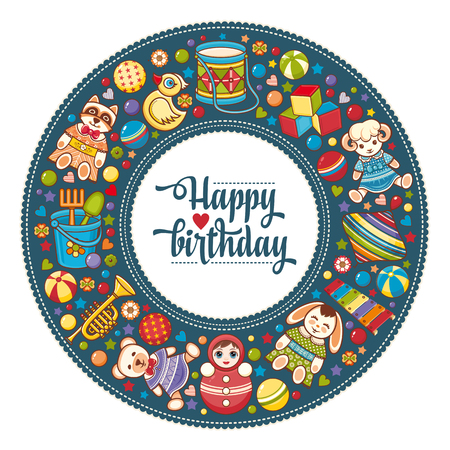Children's colorful round frame. Baby background. Happy birthday greeting card. Digital vector image for invitations, wrapping.