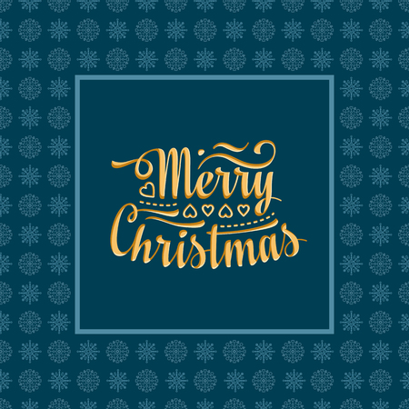 season s greeting: Merry Christmas lettering text. Festive message. Christmas snowflakes. Christmas and New Year background. Vector image for greeting card.