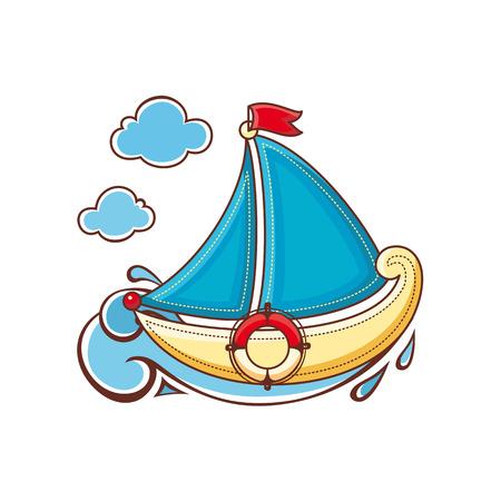 brig: little sailboat. Childrens toy.