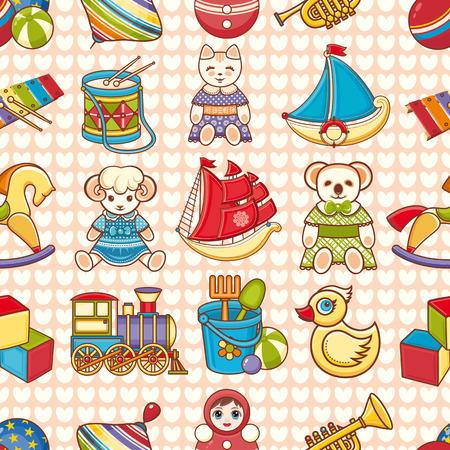 Toy kid's. Seamless pattern. Baby background. Toddler toys. Vektoros illusztráció