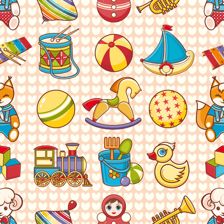 Toy kid's. Seamless pattern. Baby background. Toddler toys.