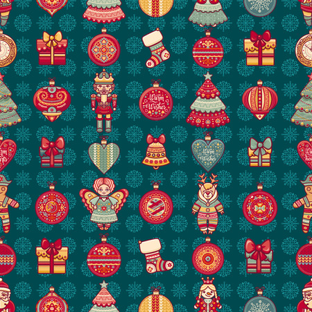 new years background: Seamless pattern. Christmas style. Christmas hand drawn design elements. Best for greeting cards, invitations.