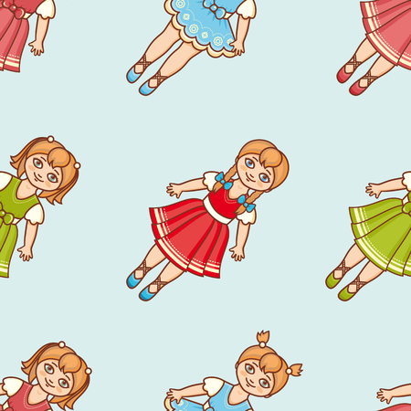 floret: Little Ballerina. Cartoon style. Seamless pattern. Baby Doll. Colorful background.