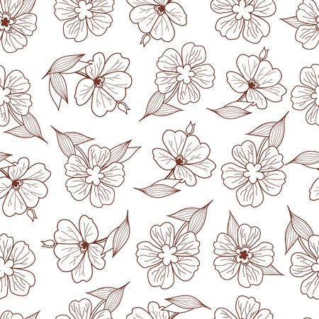 floret: Floral print. Seamless pattern. Botanical ornament. Monochrome texture. Illustration