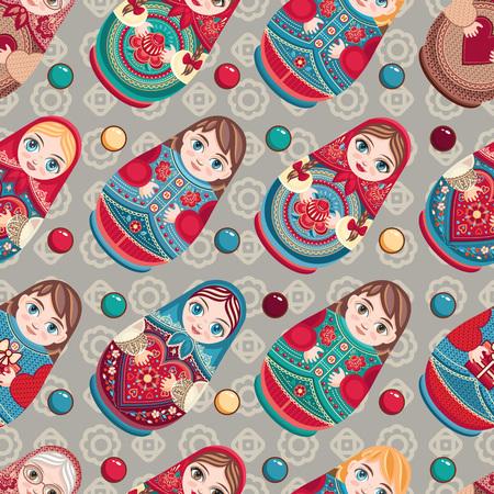 Matryoshka. Babushka doll. Seamless pattern. Colorful image