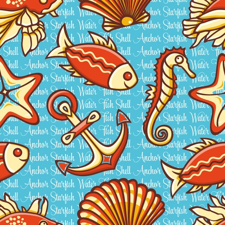 inhabitants: Marine seamless pattern with colorful figures. Fish and tools. Sea and river inhabitants.  Nautical ornament. Sea texture. Vector