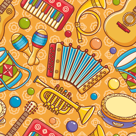 Musical instrument.  Seamless colorful pattern. Vector ornament. Cartoon style Illustration