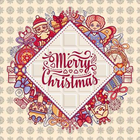 christmas greeting: Merry Christmas toys greeting card.