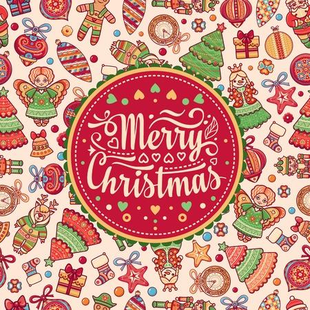 christmas greeting: Christmas greeting postcard - colorful illustration.