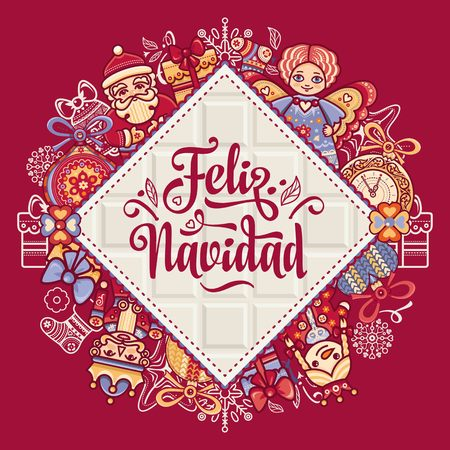 Christmas decorations for invitations and greeting cards in spanish christmas decorations for invitations and greeting cards in spanish stock vector 73021193 m4hsunfo