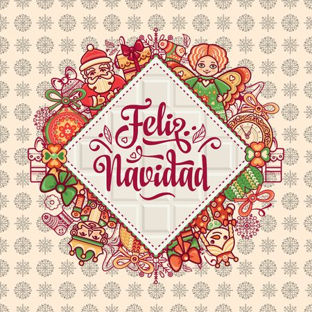 christmas decorations for invitations and greeting cards in spanish stock vector 73024065 - Spanish Christmas Decorations