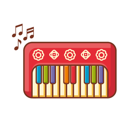 Piano. Musical instrument for kid. Baby toy. Cartoon style. Stock Vector - 73168775