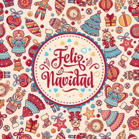 Christmas decorations for invitations and greeting cards. Winter toy. Feliz navidad. Xmas card on Spanish language. Warm wishes for happy holidays in Spain. English translation: Merry Christmas. 向量圖像
