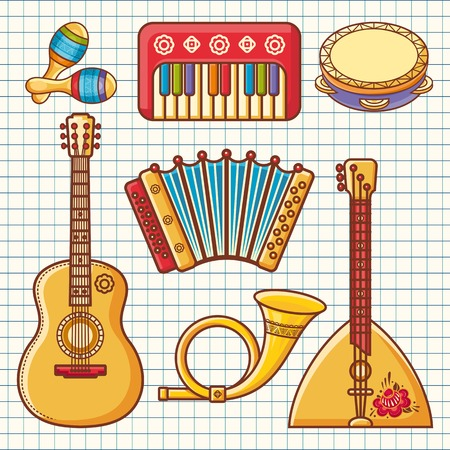 wooden post: Musical instruments. Childrens toys. Set. Maracas, accordion, balalaika, guitar, post horn, tambourine. Illustration