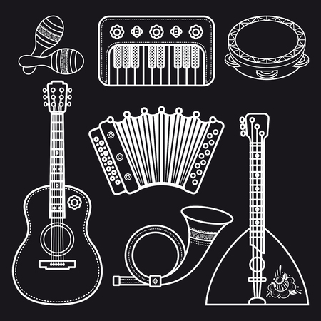 Musical instruments. Children's toys. Set. Maracas, accordion, balalaika, guitar, post horn, tambourine. Illustration